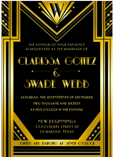 Custom Art Deco Inspired Invitation