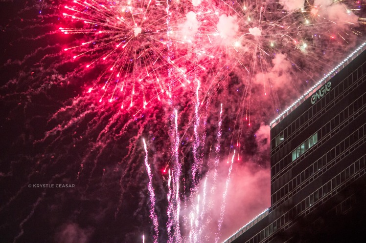 Photo of fireworks taken at Uptown Houston Holiday Lighting