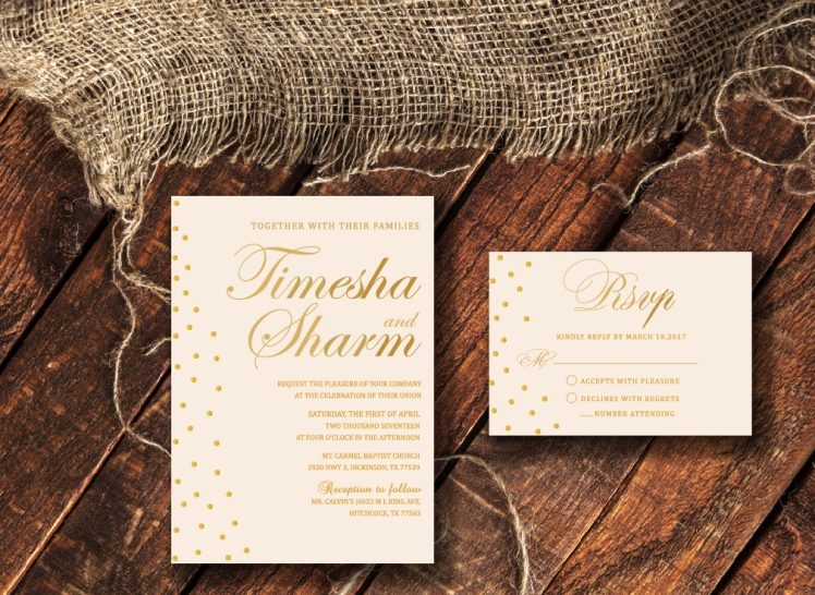 Faux Gold and Ivory Invitation and Rsvp
