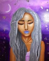 """16x20""""   Acrylic & Silver Leaf on Canvas"""